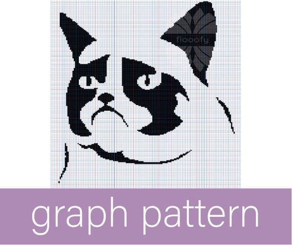 Grumpy Kitty (Medium) Cat Graph Pattern