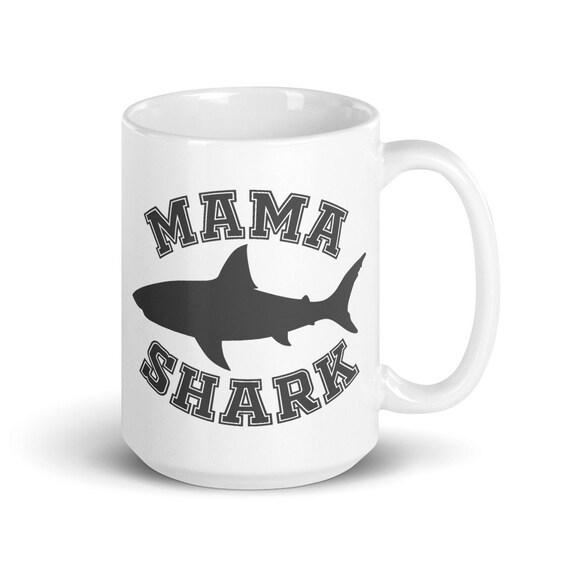 Mama Shark - Glossy Ceramic Mug - Shark Family - Mother's Day - Cute - Animal - New Mom - Baby Shower - New Baby