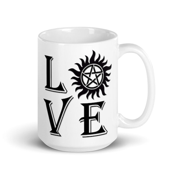 Love Supernatural - Glossy Ceramic Mug - Graphic - Coffee - TV Show - Anti Possession - Funny - Fantasy - Winchester