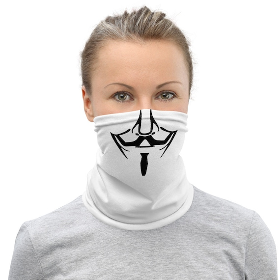 Anonymous Mustache - Neck Gaiter - Neck Wrap - Scarf - Face Mask - Face Wrap - Funny - Humor - Remember