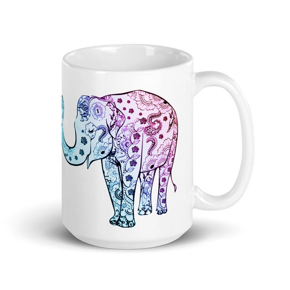 Happy Elephants - Glossy Ceramic Mug - Coffee Mug - Tea Mug - Elephant Mug - Cute Mug - Valentine's Day - Birthday