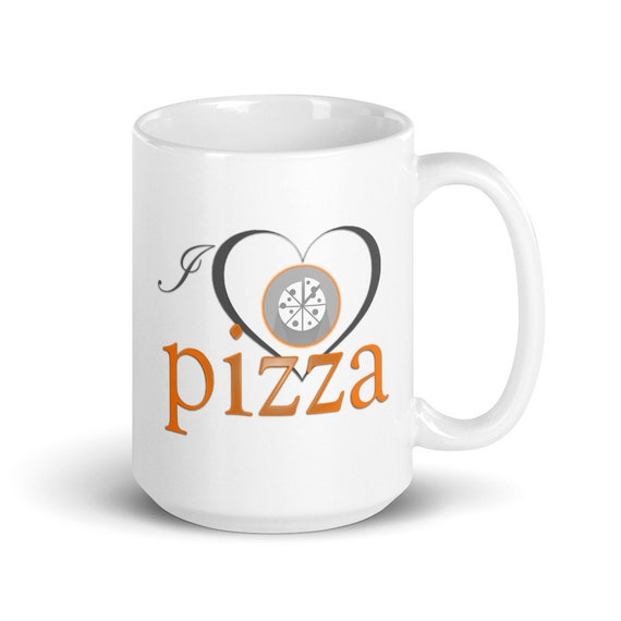 I Love Pizza - Glossy Ceramic Mug - Coffee - Funny - Food Lover - Diet - Culinary - Chef - Italian
