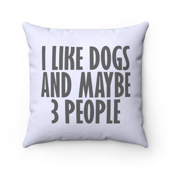 I Like Dogs And Maybe 3 People - Faux Suede Square Pillow