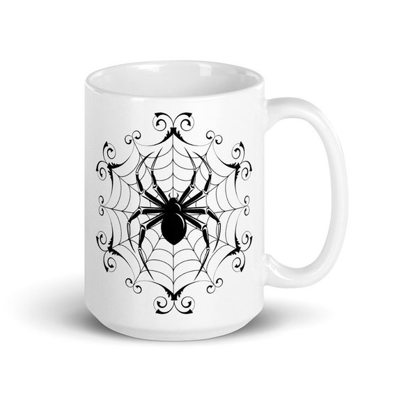 Black Widow - Glossy Ceramic Mug - Spider Web - Halloween - Gothic - Goth