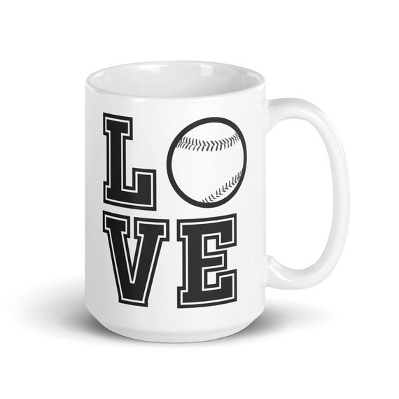 Baseball Love - Glossy Ceramic Mug - Coffee - Graphic - Sports - Games - Play Ball - Baseball Mom - Baseball Dad - Softball