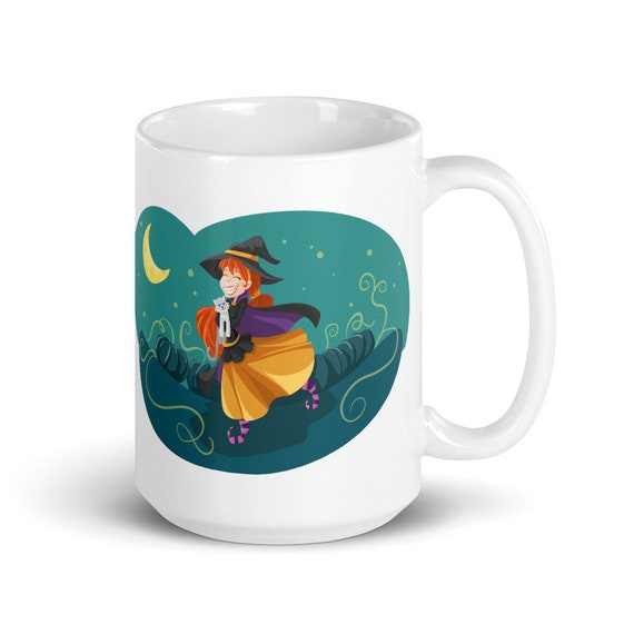 Happy Witch - Glossy Ceramic Coffee Mug - Tea Mug - Halloween - Cat - Cute - Moon - Stars - White Witch