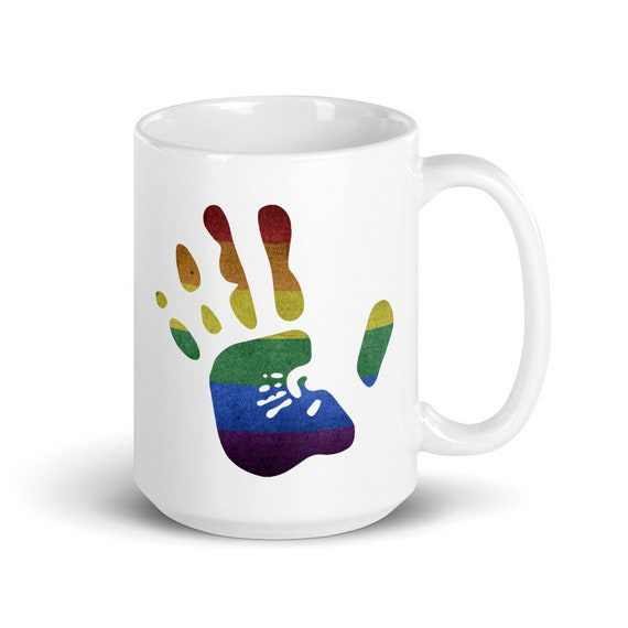 Proud Parent - Glossy Ceramic Mug - Pride - LGBTQ - Rainbow - Hands - Love - Support - Gay - Lesbian - Trans - Mother's Day - Father's Day