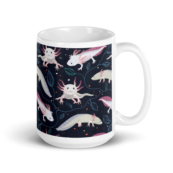 Swimming Axolotl - Glossy Ceramic Coffee Mug - Cute - Animal Gifts