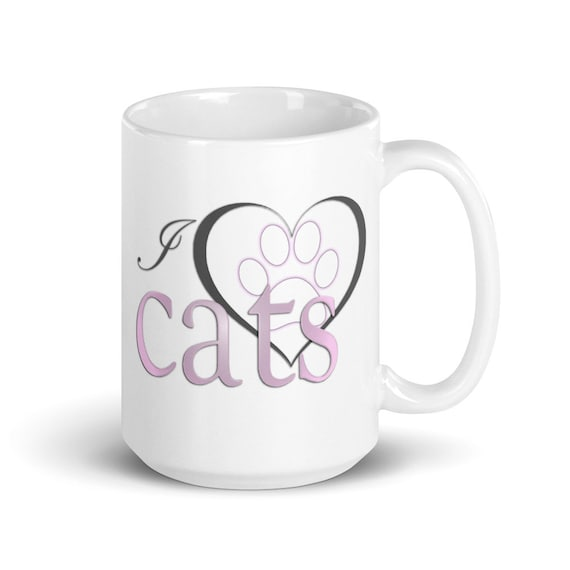 I Love Cats - Glossy Ceramic Mug - Cat Mom - Cat Dad - Animal - Cute - Heart - Paw Print