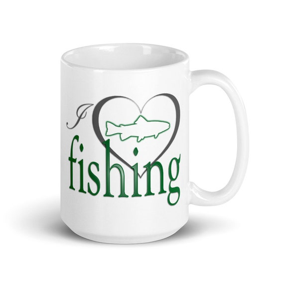 I Love Fishing - Glossy Ceramic Mug - Dad Gifts - Father's Day - Hunting - Sports - Coffee - Gifts for Him