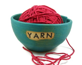 Custom Ceramic Yarn Bowl - Made to Order - Great Gift - Name Yarn Bowl - Personalized Stoneware Clay Pottery