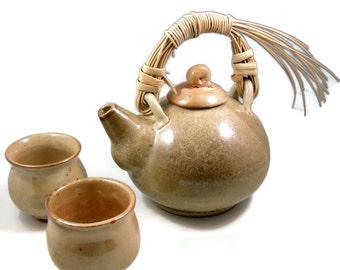 Pottery Teapot Set w Cane Handle / Handmade Ceramic Wheel Thrown  Porcelain Stoneware Clay Teapot and Tea cups / Ready to Ship