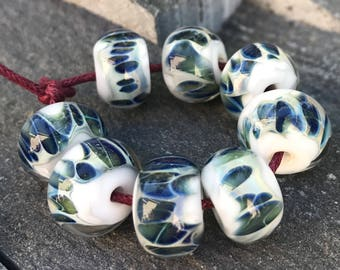 Boro Beads - Lampwork Glass - White with Blue
