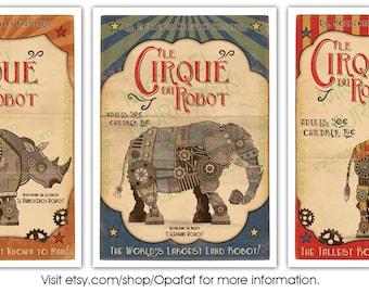 3 Pack - Retro Robot Circus Prints - Large - 11x14