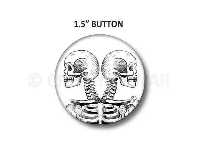 "Twin Skulls - 1.5"" Button"