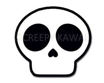 Creepy Kawaii Skull - 3 Inch Weatherproof Vinyl Sticker