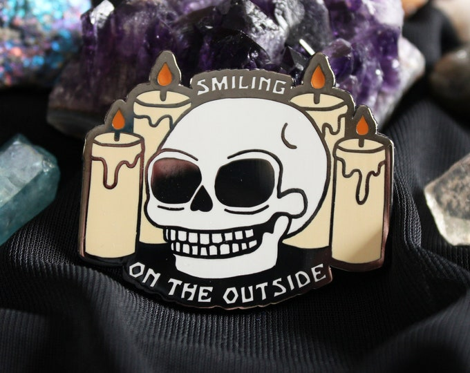 "2"" Hard Enamel Pin Smiling on the Outside"