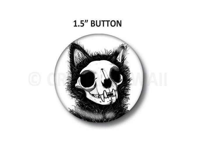"""Cat Skull - 1.5"""" Button"""