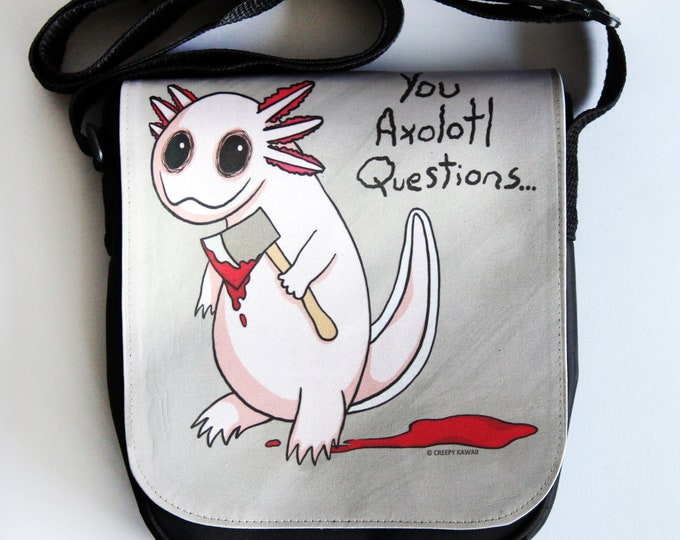 "You Axolotl Questions 7.5"" x 7"" Small Shoulder Bag"