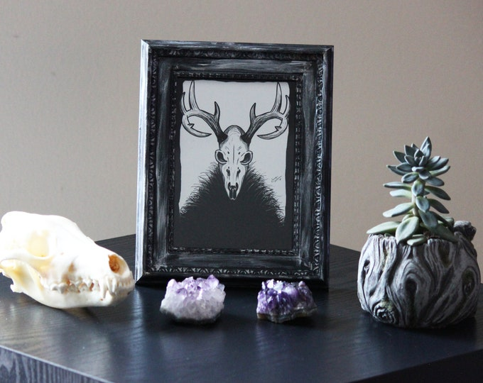 Framed Art - Mysterious Creature (Deer Skull) - 5x7