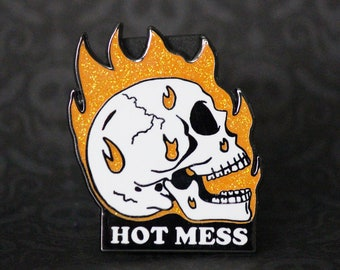 "2"" Glitter Hard Enamel Pin Hot Mess"