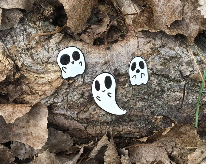 "PRE-ORDER 1"" - 1.5"" Hard Enamel Mini Ghost Pins (Set of 3)"