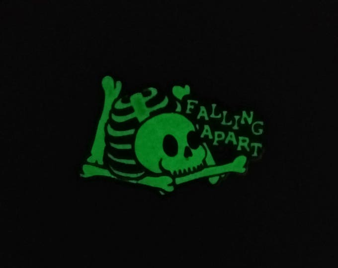 "2"" Hard Enamel Pin Falling Apart - Limited Edition Glow in the Dark"