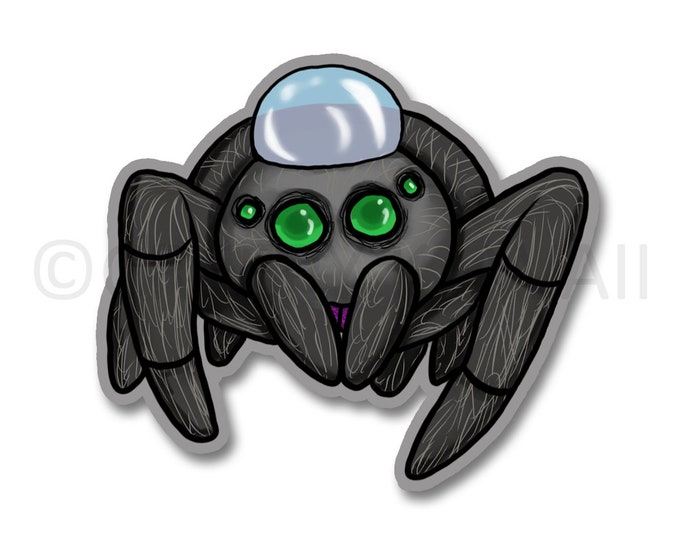 Water Droplet Hat Jumping Spider - 3 Inch Weatherproof Vinyl Sticker