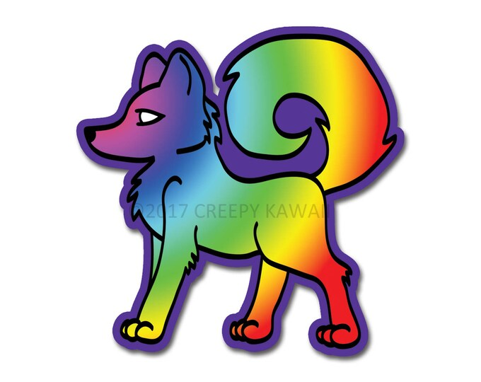 Rainbow Wolf - 3 Inch Weatherproof Vinyl Sticker