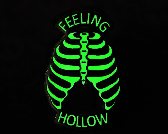 "2"" Hard Enamel Pin Feeling Hollow - Limited Edition Glow in the Dark"