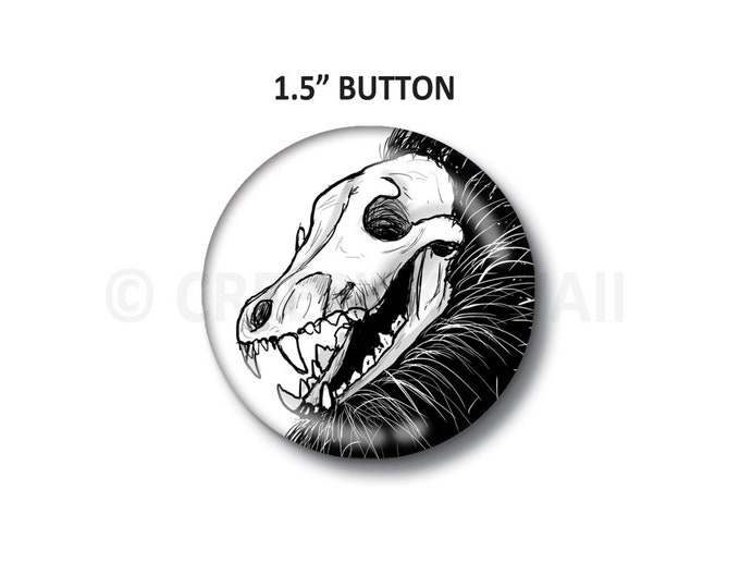 "Coyote Skull - 1.5"" Button"