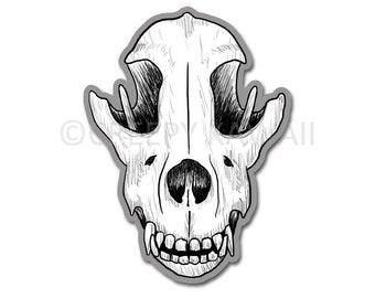 Wolf Skull - 3 Inch Weatherproof Vinyl Sticker