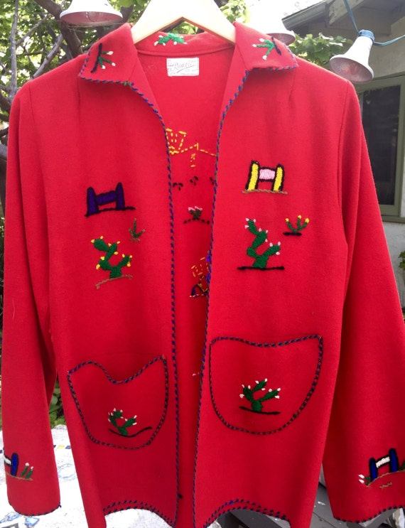 Red Mexican Vintage Tourist jacket - image 2