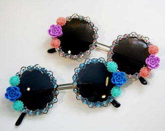 Garden Party Round Embellished Sunglasses Accessory Sunnies by Cutie Dynamite