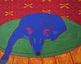 Runner in Repose - Modern Dog Art - Greyhound Dog Art - Dog Portrait - by dogpopart