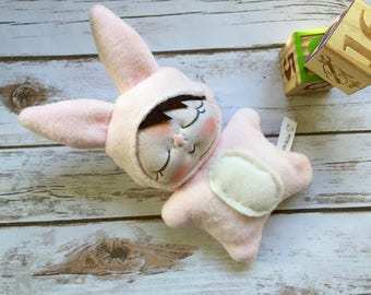The Lovey BeBe Pink Bunny Rabbit Baby Doll by BEBE BABIES Soft Sculpture Baby Doll Waldorf Doll Baby Gift Child Gift Stocking Stuffer