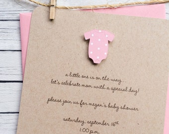 Girl Onesie Baby Shower Invitation