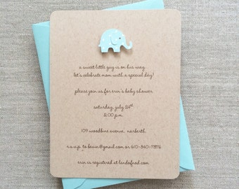 Elephant Baby Shower Invitation Boy