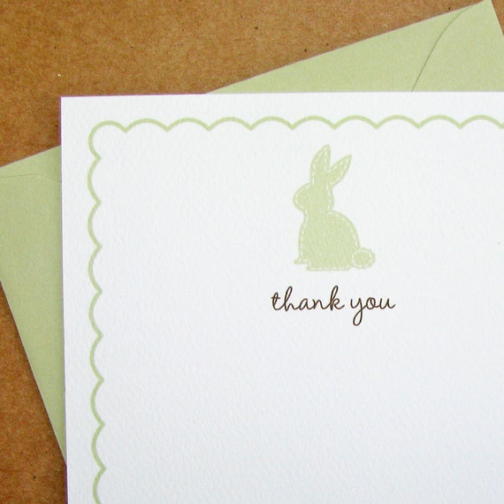 Celery Stitched Baby Bunny Baby Shower Thank You Cards   Scalloped Border  Baby Shower Thank You Cards - Textured, Recycled Baby Shower Note