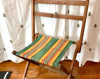 Vintage Striped Camp Stool Folding Chair, Wood and Canvas, Farmhouse, Home Decor, Outdoor Living, Awning Stripe, Antique