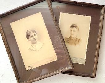 Vintage Photographs in Frames, Late 1800s, Ladies, Trask Photographer Philadelphia, Rogers Dennison Uhrichsville Ohio, Sepia Portraits