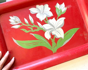 Vintage Metal Serving Tray, Handpainted Red with White Flowers Green Leaves, Christmas Colors, Large Recatangle, Serving ware, Mid Century
