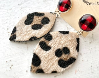 Leopard Print Vegan Leather Faux Fur Leaf Earrings with Red and Black Buffalo Plaid Posts in Rose Gold or Silver Tone Drop Dangle Statement