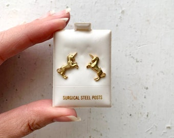 Vintage Gold Tone Unicorn Stud Earrings, Surgical Steel Posts, Plastic Box Sweet Kiss Red Satin Lining