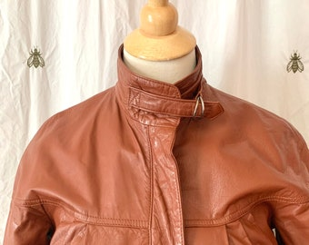 Chic Vintage Leather Motorcycle Jacket, Cognac Brown, Cover Works, Womens Size 6, 1980s Style,