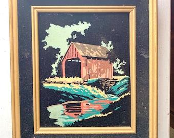 Vintage Black Velvet Original Painting, Red Covered Bridge Water Trees Scene, Gold Frame with Black Velvet Inlay,  11 x 13, 1970s