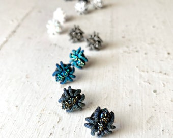 Sparkly Spider Stud Earrings for Halloween Fun, Black, White, Silver, Blue, Stainless Steel Posts