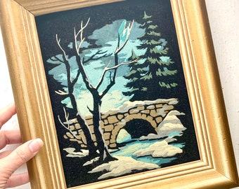 Vintage Black Velvet Original Painting, Stone Bridge Woodland Tree Snow Scene, Gold Framed Art, Signed by Artist, Bud (19)70, 10 x 12 Small