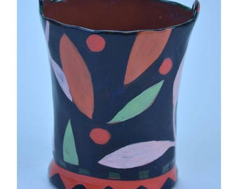 Flower Bucket Vase. Small. Black with Leaf and Berry