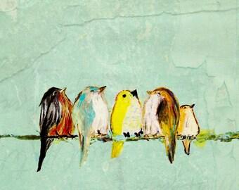 We Are the World - Fine Art Print for music teacher piano teacher choir gift colorful birds on a wire art print aqua blue green colors